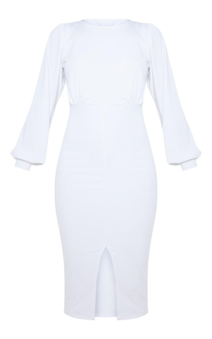 White Fine Rib Balloon Sleeve Midi Dress 3