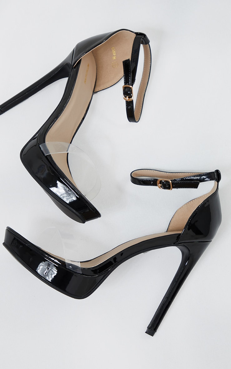 Black Clear Strap Platform Heeled Sandals 3