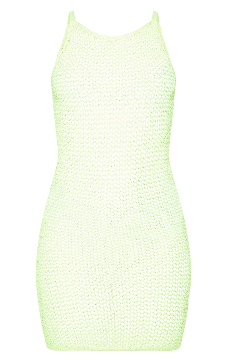Neon Lime Crochet Knitted Dress 3