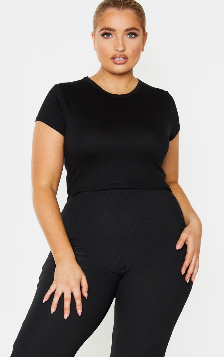 Plus Black Short Sleeve Crop T Shirt 1