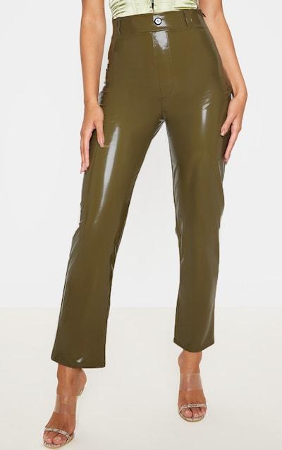 Olive Khaki Vinyl Tortoise Button Slim Leg Trouser