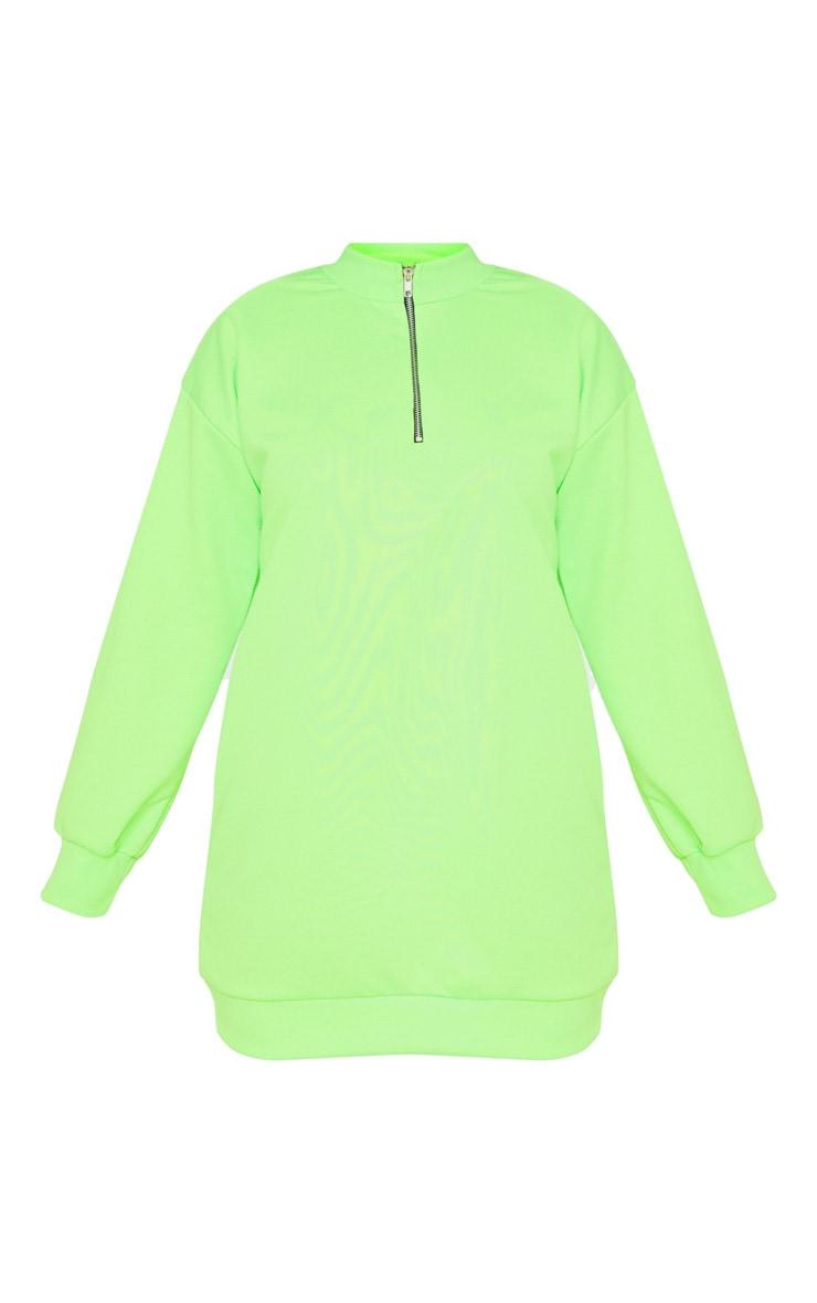 Neon Lime Zip High Neck Jumper Dress 3