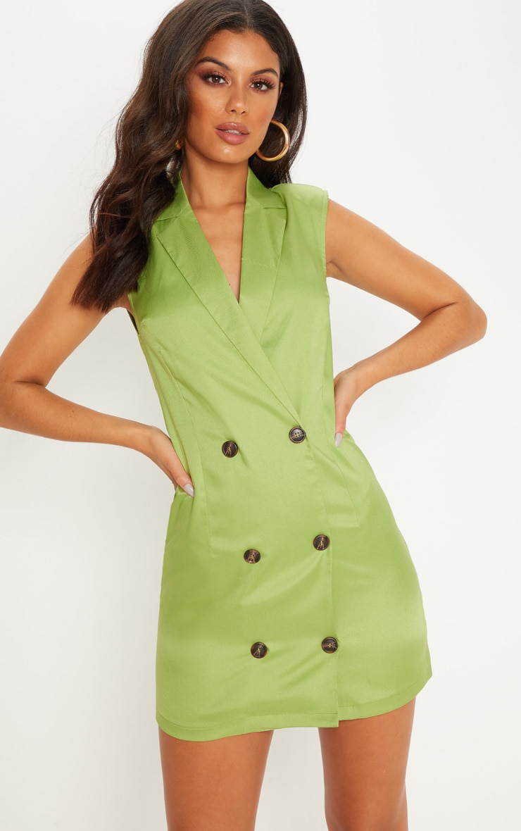 Lime Sleeveless Tortoise Button Detail Blazer Dress 4