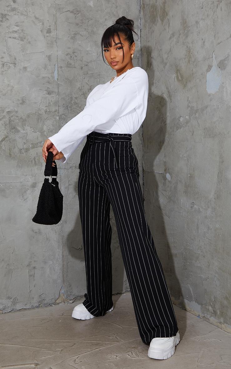 Black Pinstripe Belted Wide Leg Trousers 1