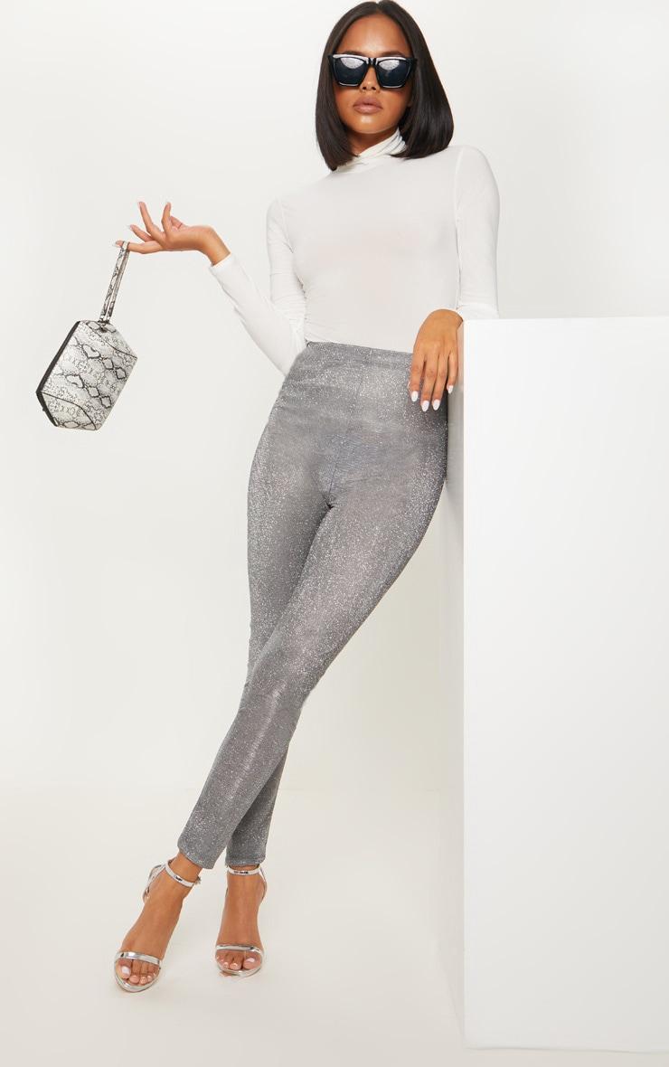Silver Lurex Legging by Prettylittlething