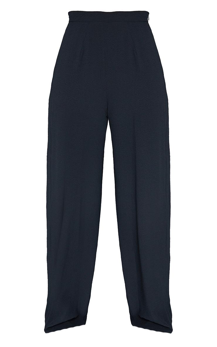 Black Textured Crinkle Wide Leg Pants 5