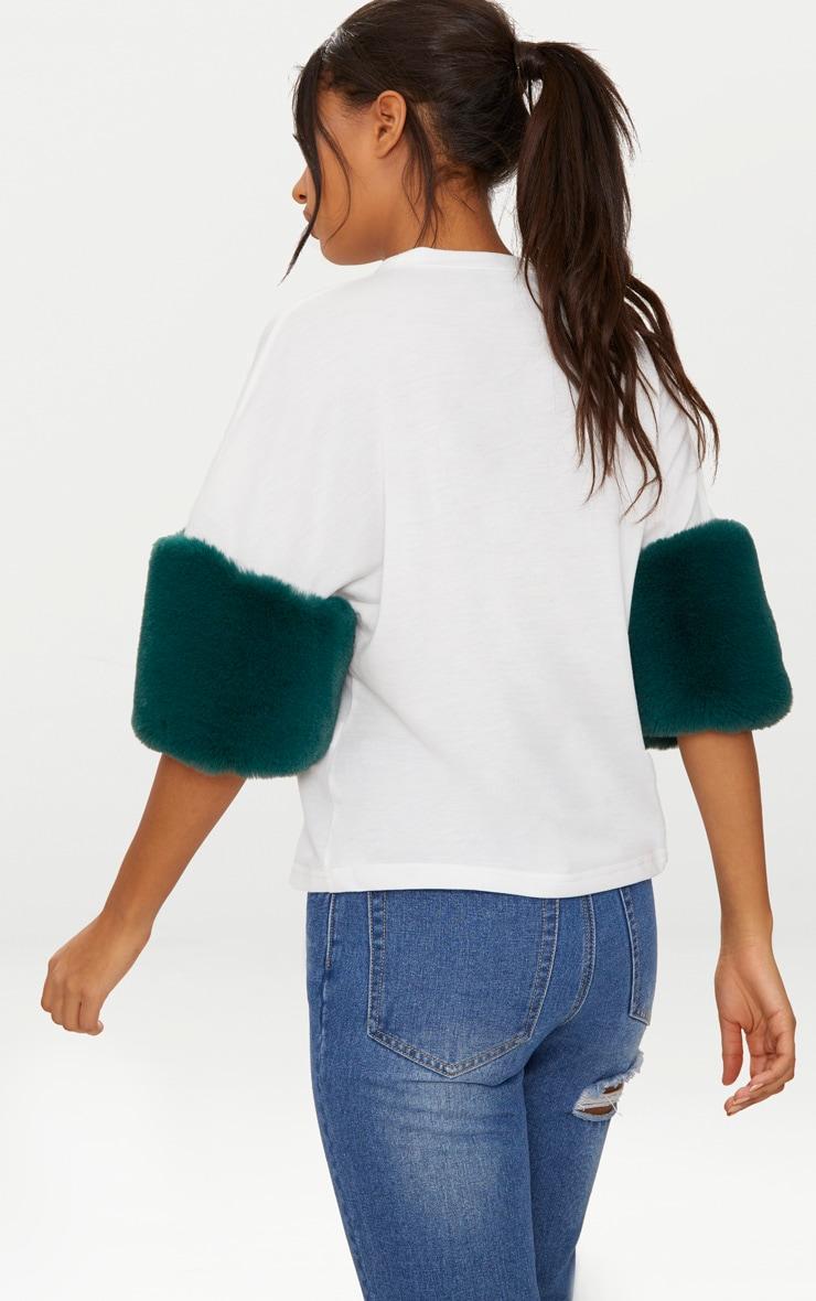 White Faux Fur Short Sleeve T Shirt  2