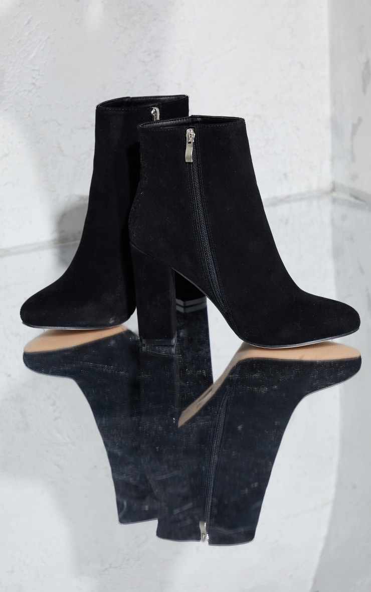 Behati Black Faux Suede Ankle Boots 4