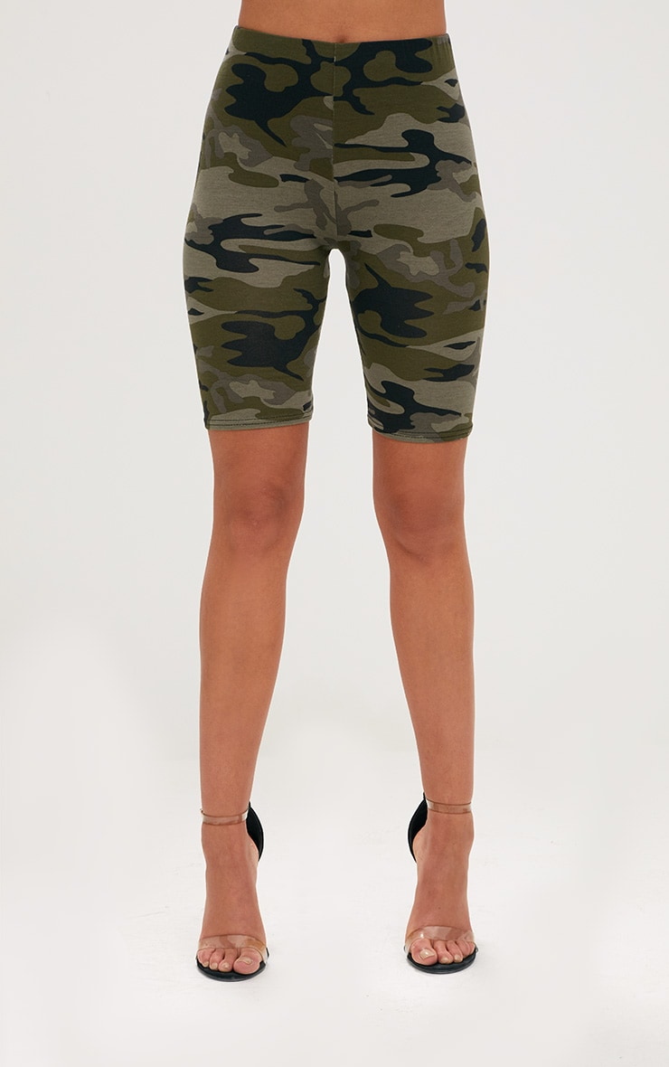Khaki Camo Print Cycle Shorts 2
