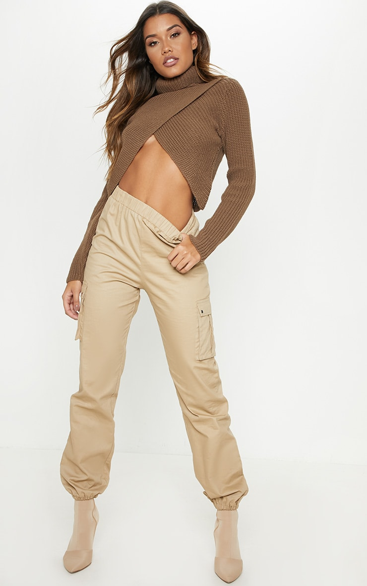 Taupe Chunky Knitted Roll Neck Wrap Jumper 4