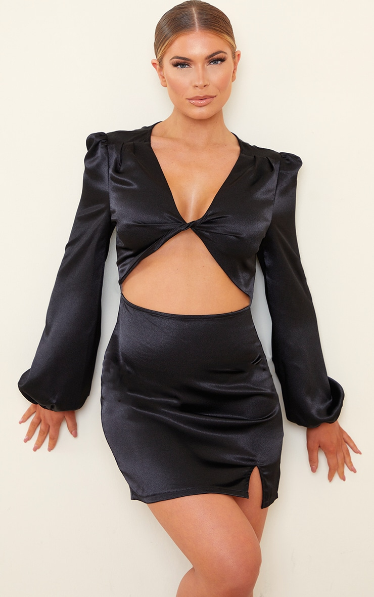 Black Satin Plunge Twist Front Long Sleeve Bodycon Dress 1