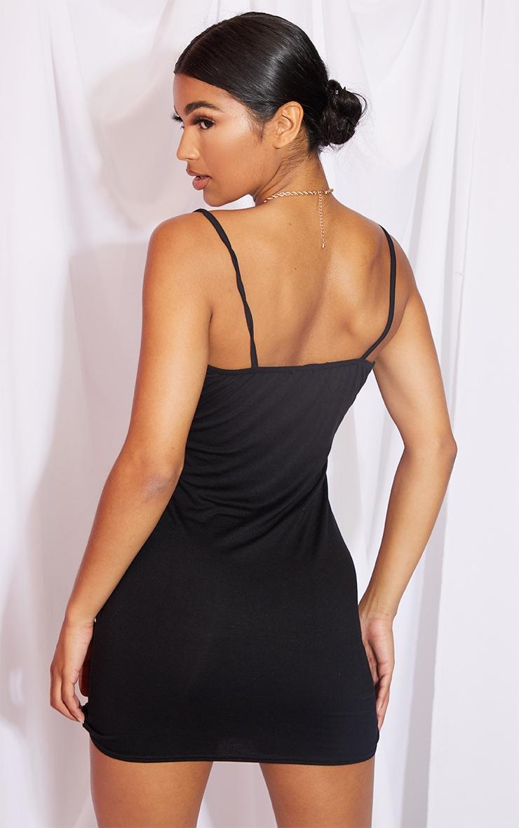 Black Strappy Split Detail Bodycon Dress 2