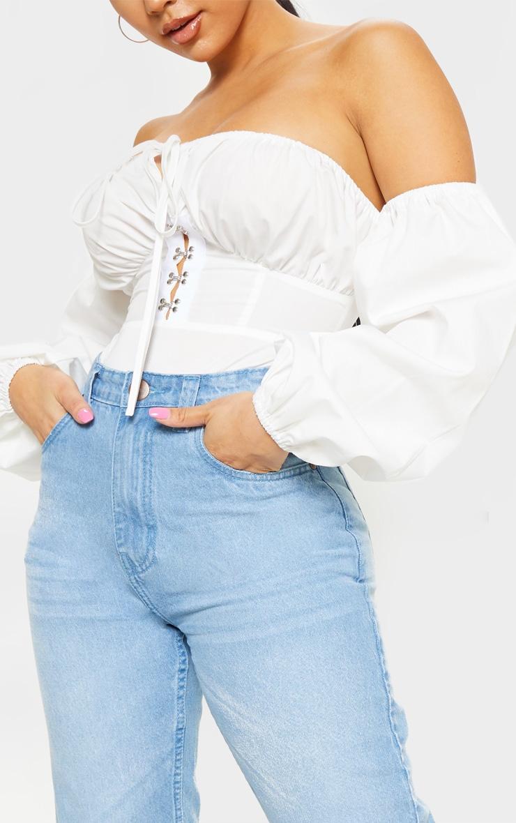 Petite White Hook & Eye Bardot Long Sleeve Bodysuit 6
