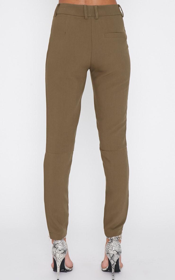 Larisa Khaki Zip Cigarette Trouser  4
