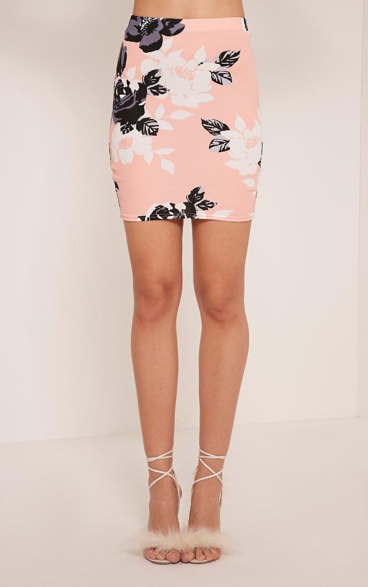 Armelle Peach Floral Print Mini Skirt 2