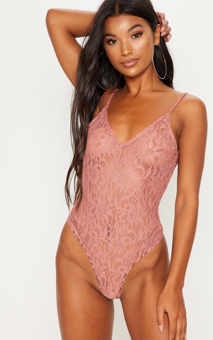 Pink Glitter Lace Bodysuit 2