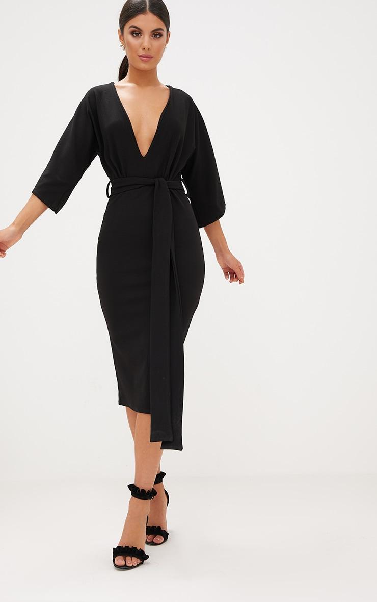 Black Kimono Sleeve Tie Waist Midi Dress 1