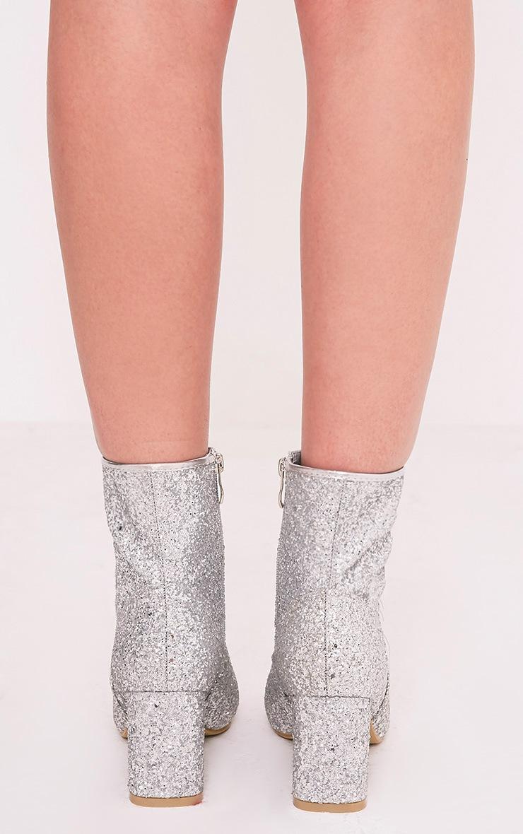 Rhianne Silver Glitter Ankle Boots 4