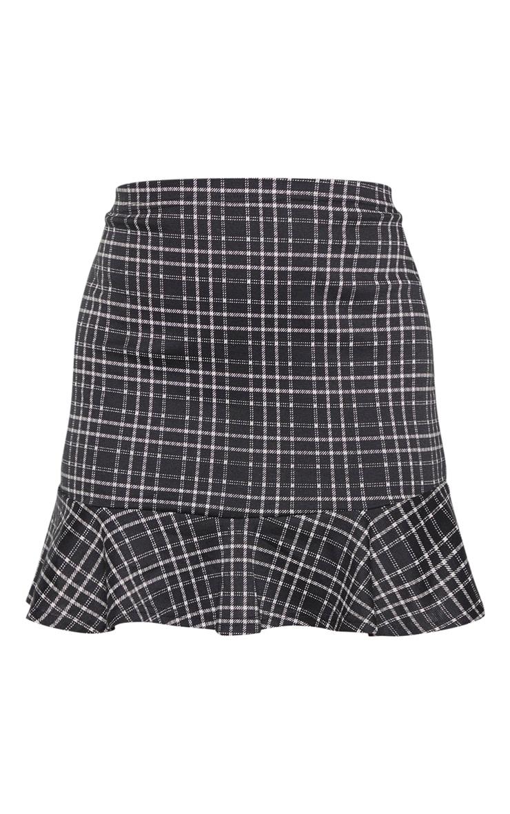 Monochrome Check Frill Hem Mini Skirt 3