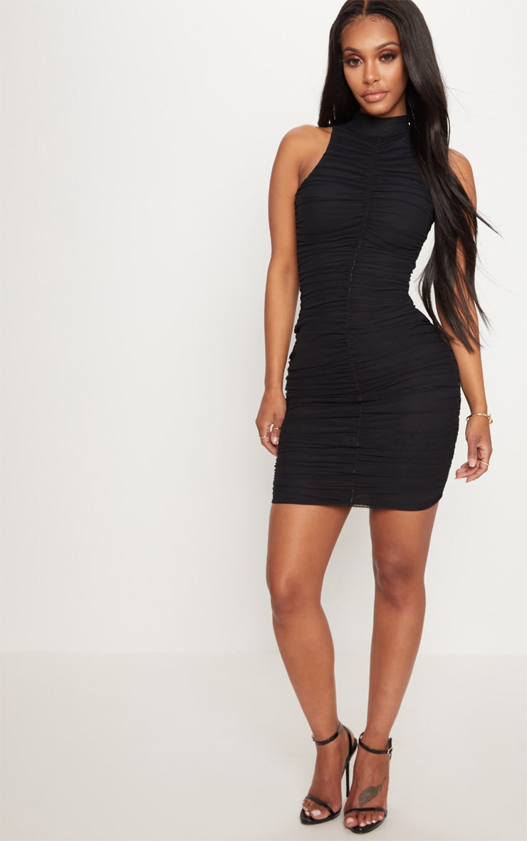 Shape Black Mesh High Neck Ruched Bodycon Dress 4