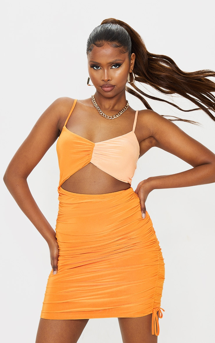 Orange Slinky Ruched Contrast Detail Cut Out Bodycon Dress
