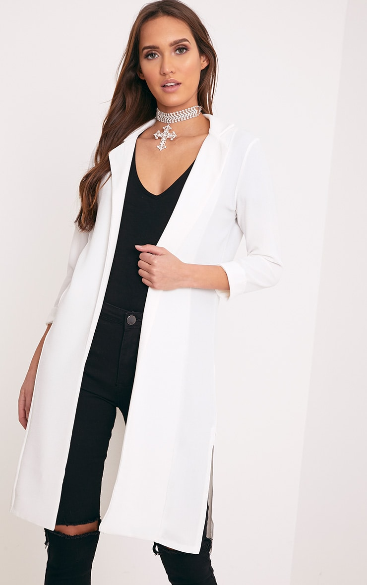 Fayela Ivory Split Detail Duster Coat 1