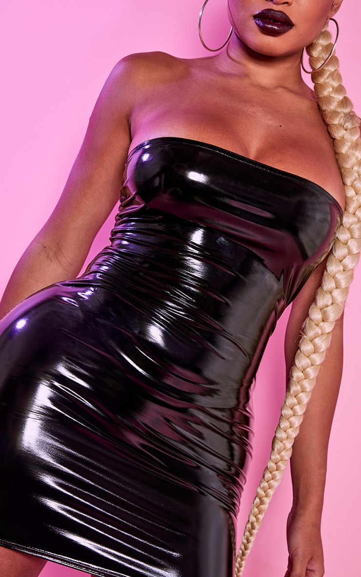 Shape Black Vinyl Bandeau Bodycon Dress 5
