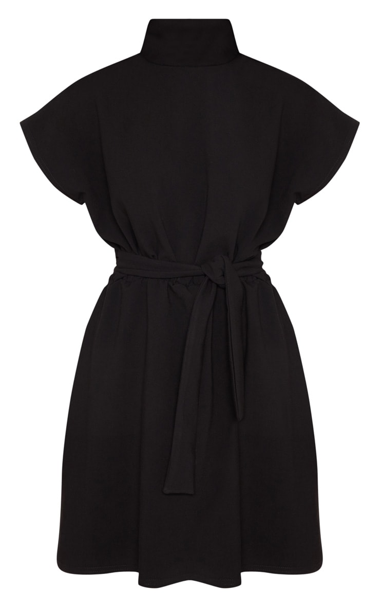 Black High Neck Belted Skater Dress 3