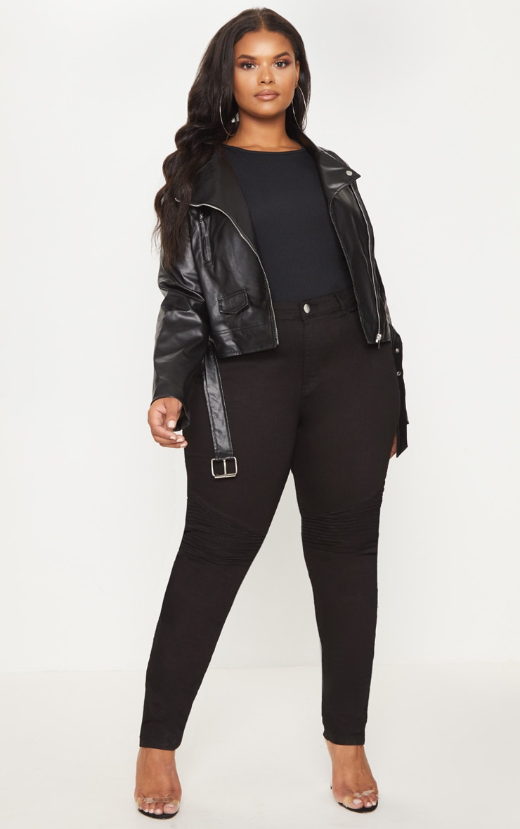 Plus Black PU Biker Jacket 4