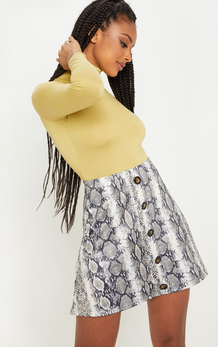 Snakeskin Printed Button Front A Line Skirt 1