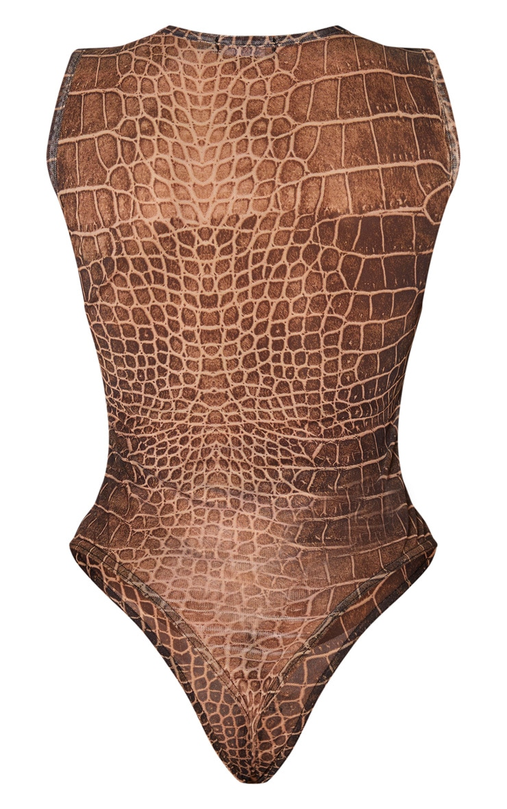 Shape Brown Croc Print Sheer Bodysuit 4
