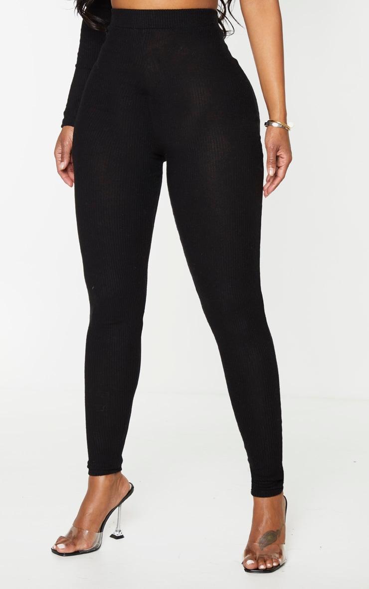 Shape Black Brushed Rib High Waist Leggings 2