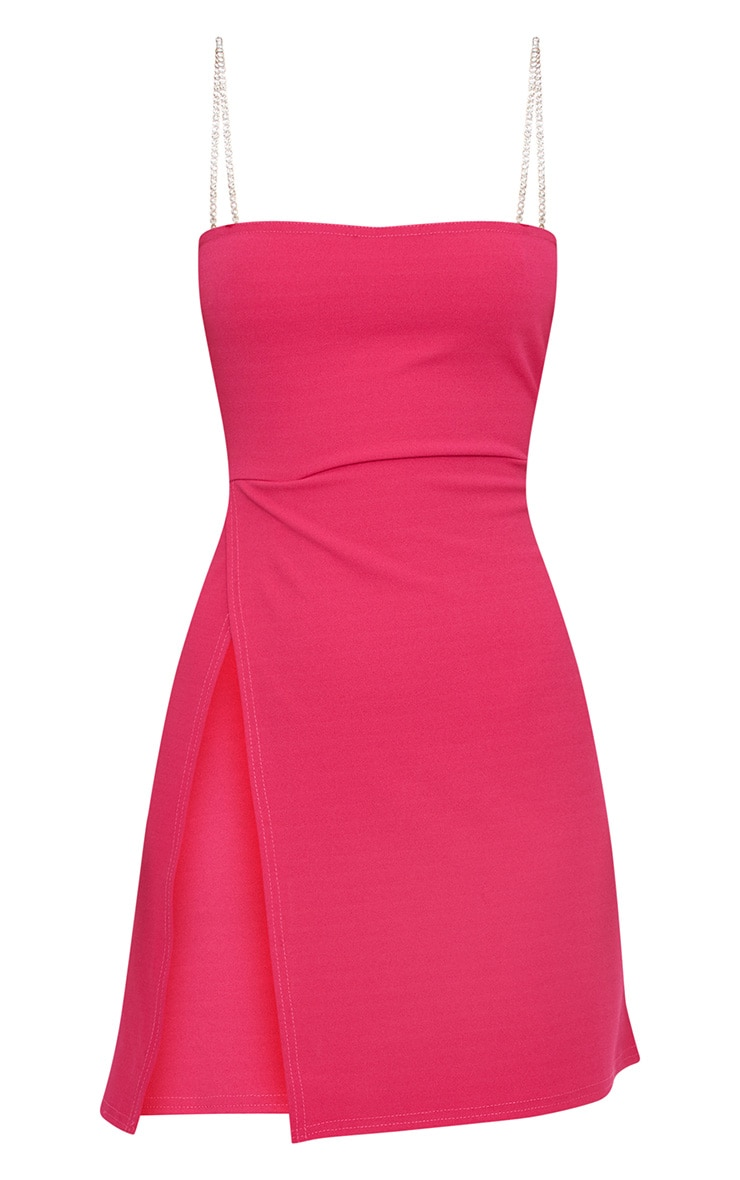 Fuchsia Diamante Strap Straight Neck Bodycon Dress 3