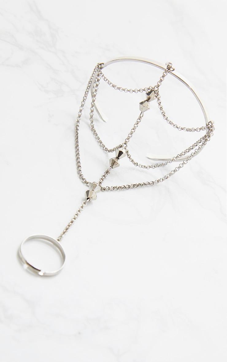 Silver Bead Hand Cuff Chain 3