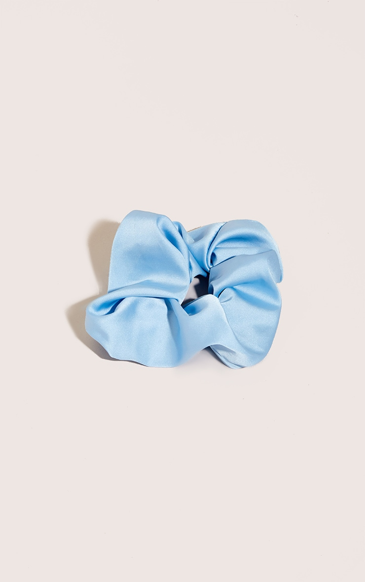 Blue Satin Scrunchie 1