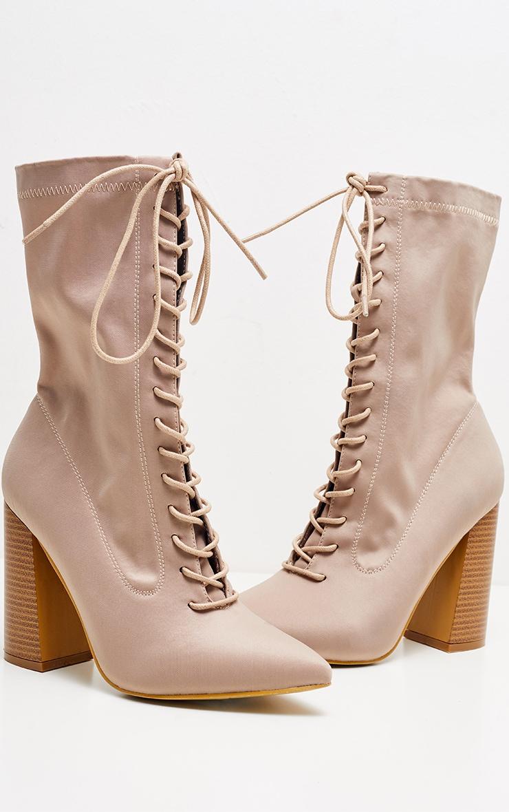 Beige Block Heel Lace Up Lycra Sock Boot 3
