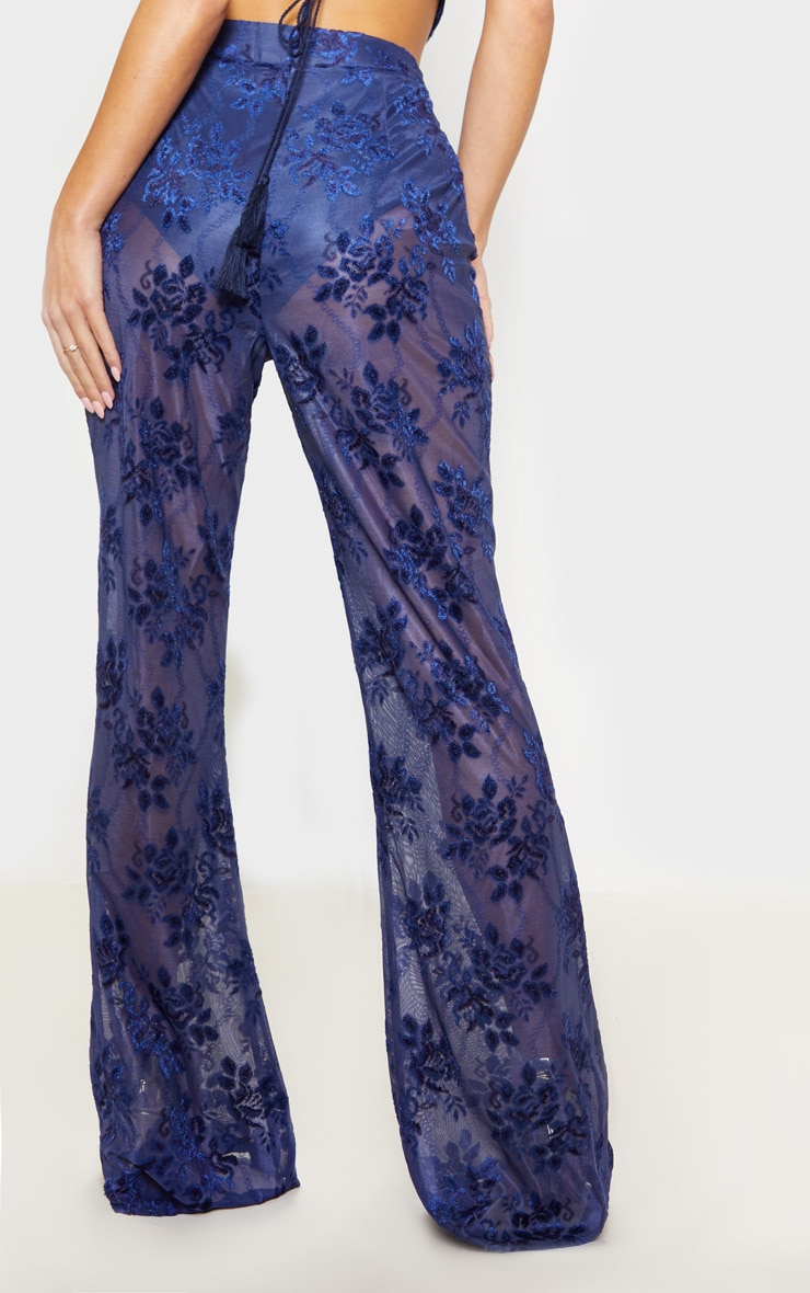 Navy Woven Floral Printed Flare Leg Pants 4