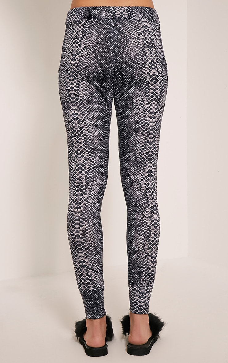 Tayah Grey Snake Print Fitted Joggers 5