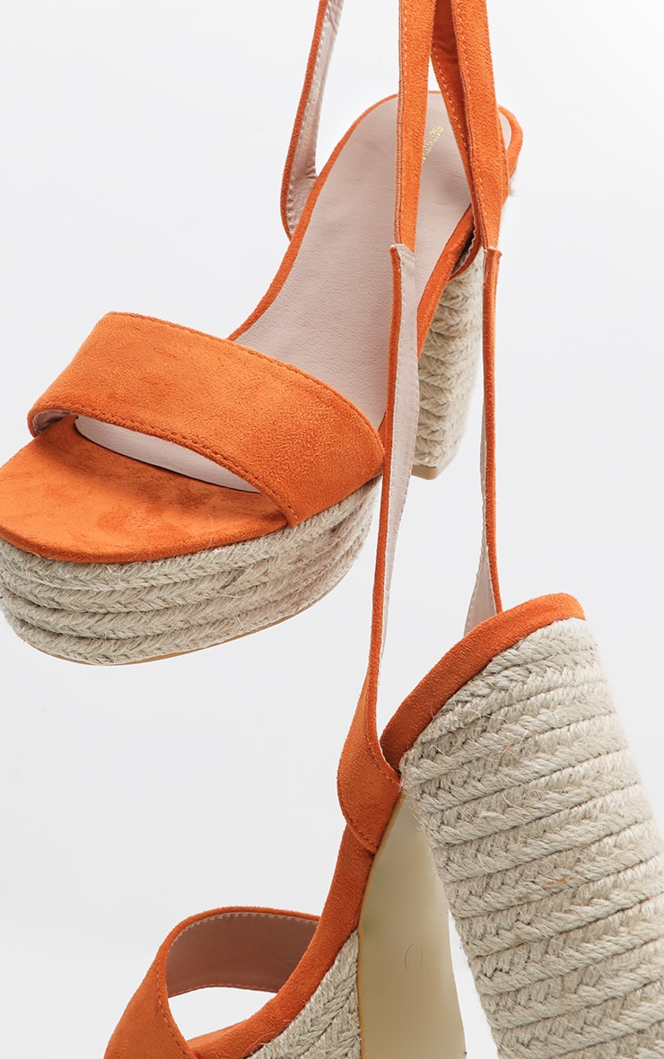 Orange Double Platform Espadrille Leg Tie Sandal  3