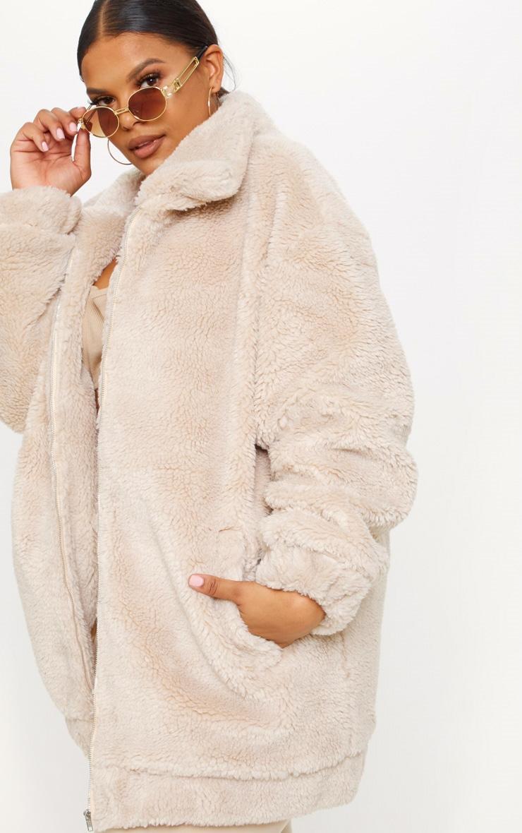 Plus Stone Teddy Bomber Coat 5