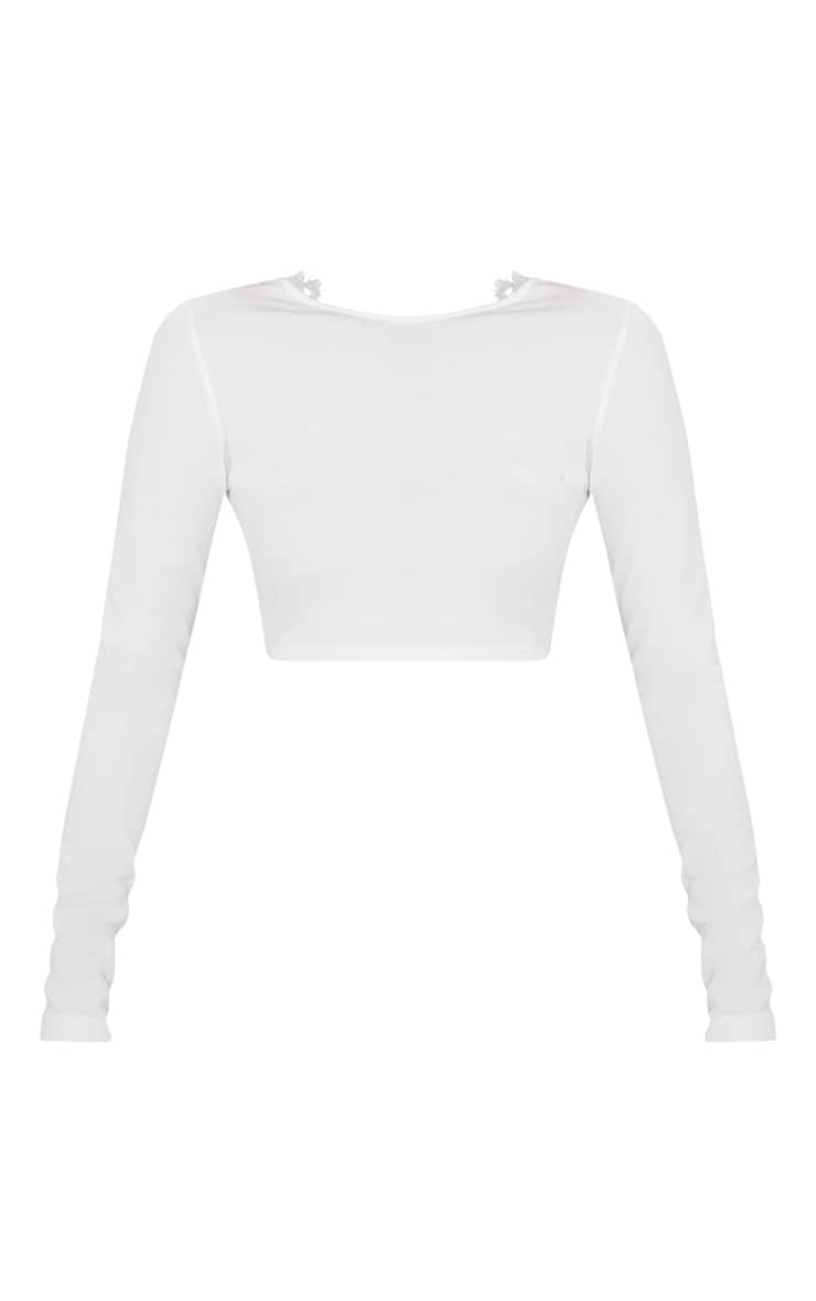 White Lace Up Back Long Sleeve Crop Top  3