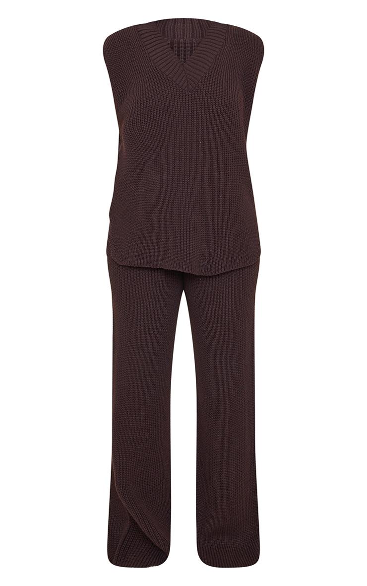 Chocolate V Neck Vest And Wide Leg Trouser Set 5