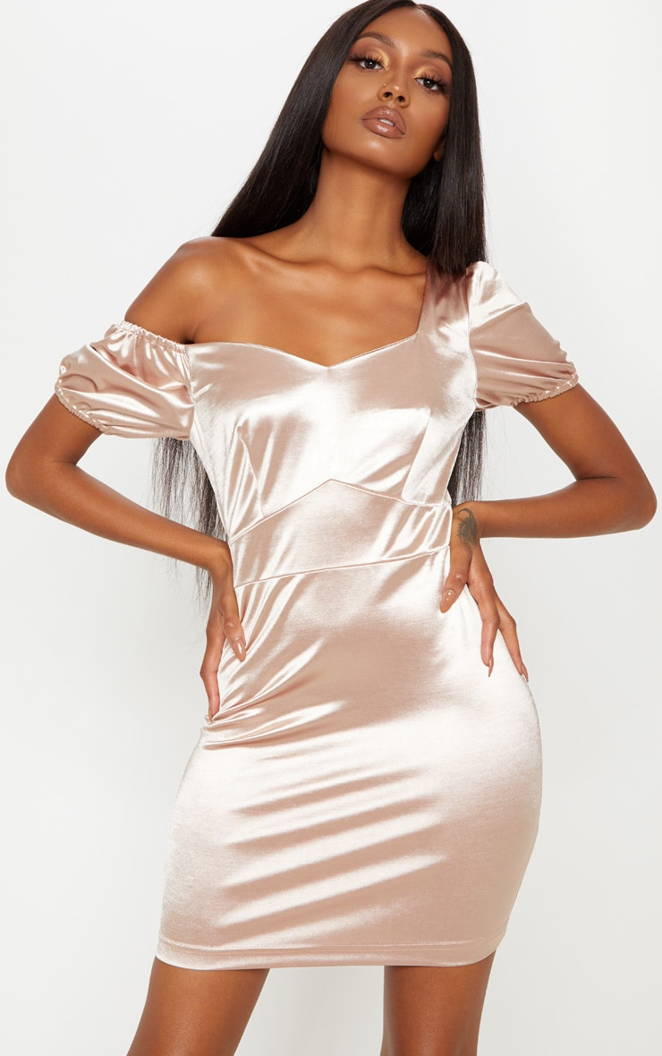 Champagne Sweetheart Puff Sleeve Satin Bodycon Dress