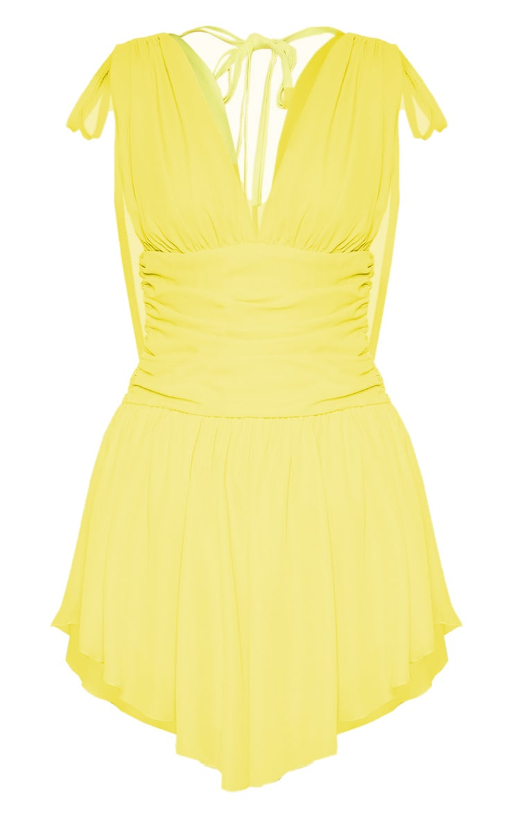 Yellow Plunge Ruched Waist Asymmetric Hem Shift Dress 3