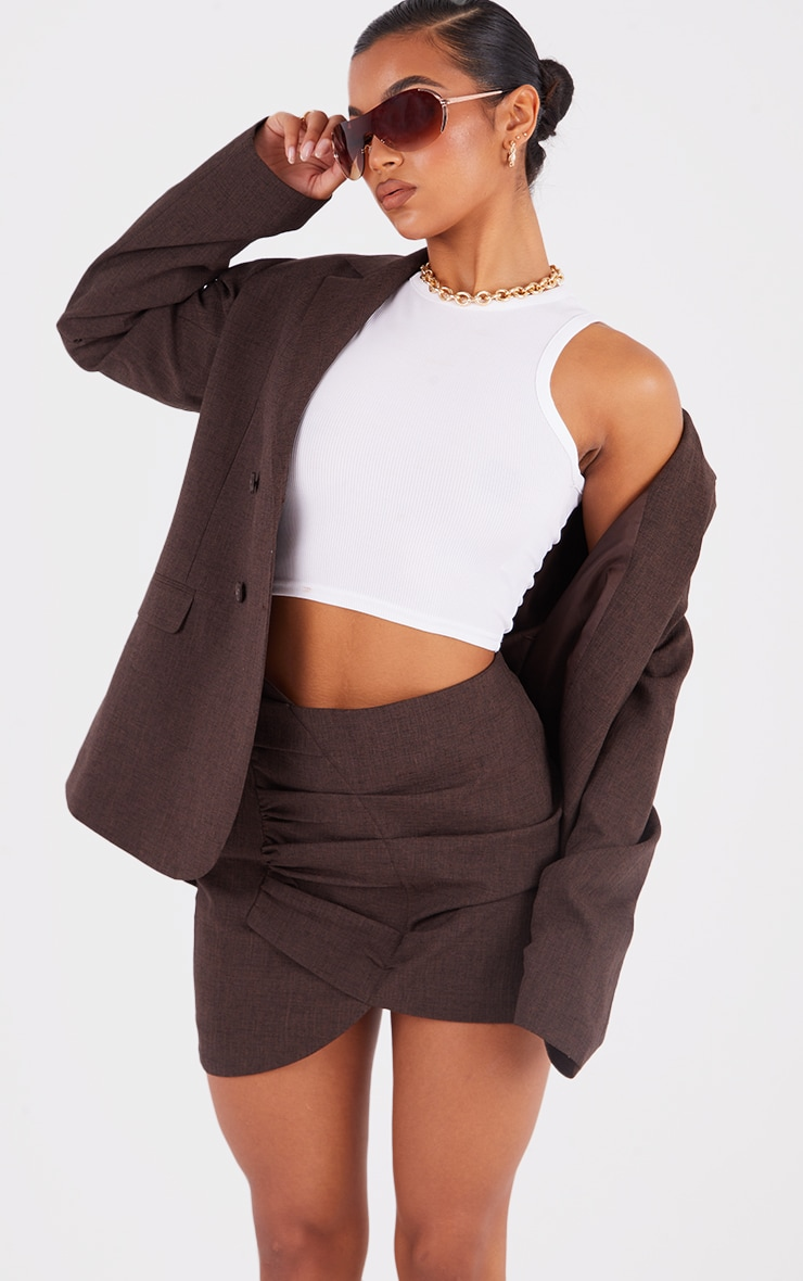 Brown Woven Ruched Front Wrap Over Skirt 4
