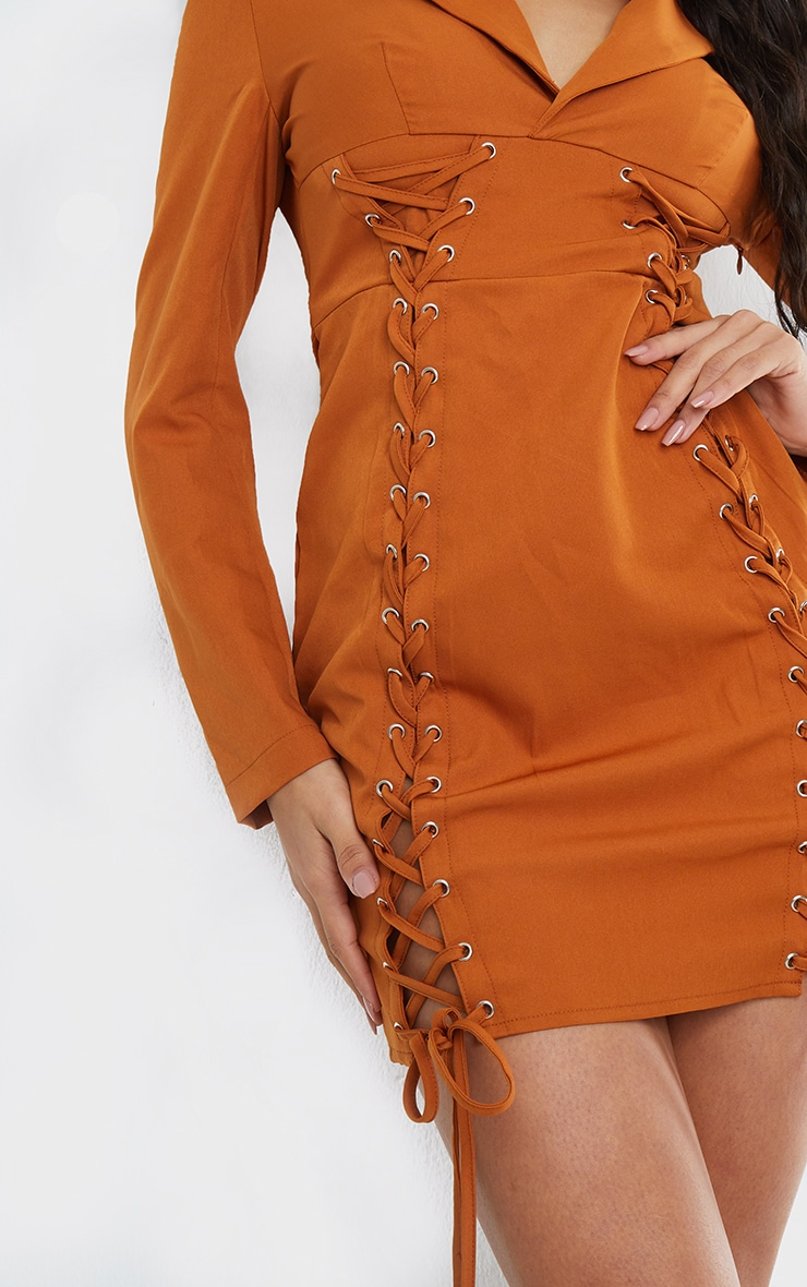 Rust Double Lace Up Detail Blazer Style Bodycon Dress 4