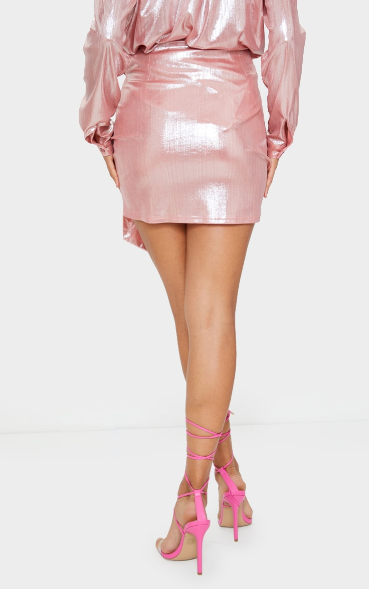 Pink Metallic Ruched Mini Skirt 3