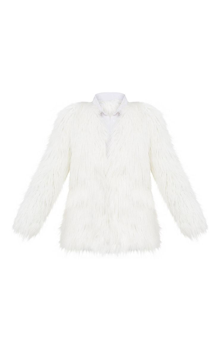 Cream Shaggy Faux Fur Jacket 3