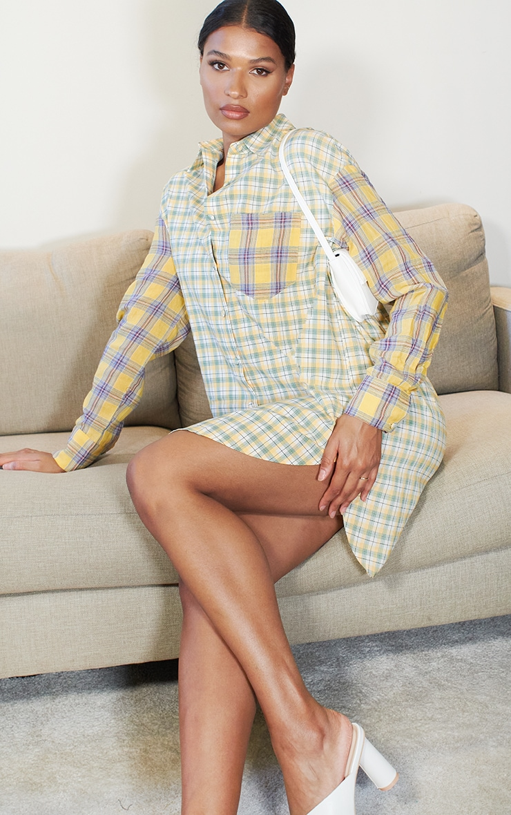 Yellow Contrast Check Shirt Dress 3