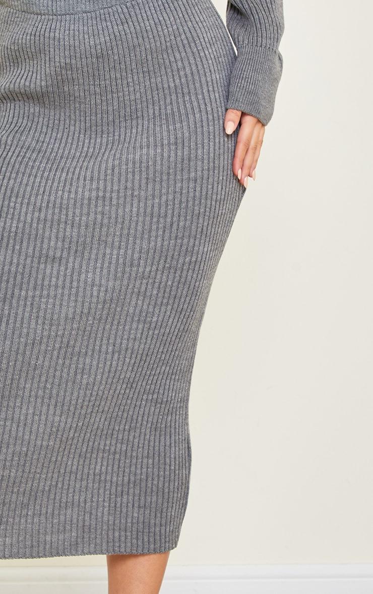 Tall Dark Grey Knitted Midi Skirt 4